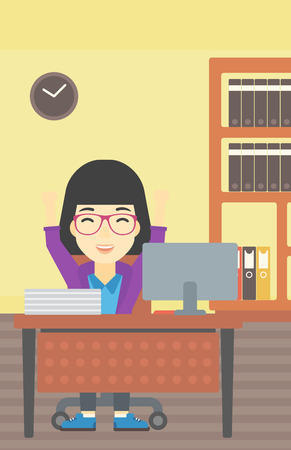 woman arms up: An asian  young business woman celebrating with arms up while sitting at the table in office. Successful business concept. Vector flat design illustration. Vertical layout.
