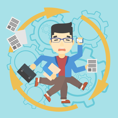 multiple ethnicity: An asian businessman with many legs and hands holding papers, briefcase, smartphone. Multitasking and productivity concept. Vector flat design illustration. Square layout.