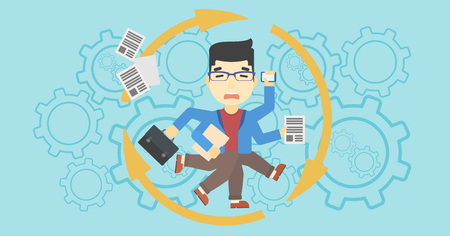overload: An asian businessman with many legs and hands holding papers, briefcase, smartphone. Multitasking and productivity concept. Vector flat design illustration. Horizontal layout. Illustration