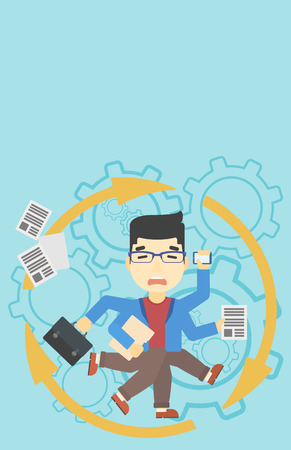 multiple ethnicities: An asian businessman with many legs and hands holding papers, briefcase, smartphone. Multitasking and productivity concept. Vector flat design illustration. Vertical layout.