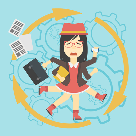 multitasking: An asian  young business woman with many legs and hands holding papers, briefcase, smartphone. Multitasking and productivity concept. Vector flat design illustration. Square layout.