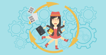 An asian  young business woman with many legs and hands holding papers, briefcase, smartphone. Multitasking and productivity concept. Vector flat design illustration. Horizontal layout. Illustration