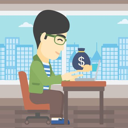 ebusiness: An asian young businessman sitting at the table in office and bag of money coming out of his laptop. Online business concept. Vector flat design illustration. Square layout. Illustration