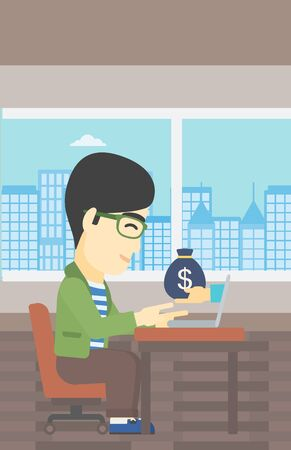 ebusiness: An asian young businessman sitting at the table in office and bag of money coming out of his laptop. Online business concept. Vector flat design illustration. Vertical layout. Illustration