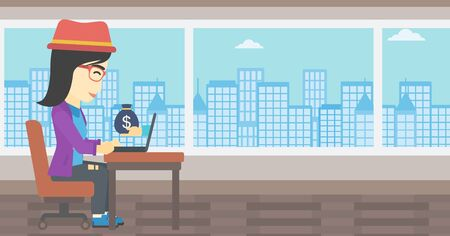 ebusiness: An asian  young business woman sitting at the table in office and a bag of money coming out of her laptop. Online business concept. Vector flat design illustration. Horizontal layout.