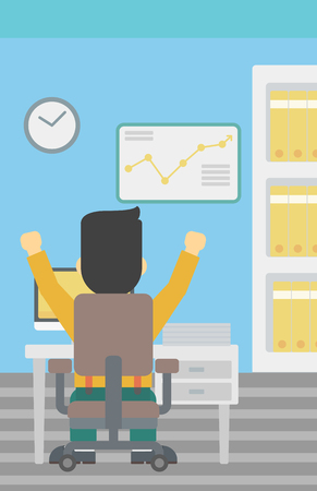 Rear view of successful businessman with raised hands sitting at workplace and a board with growing chart hanging on the wall. Vector flat design illustration. Vertical layout. Illustration