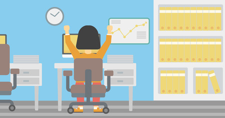 hanging woman: Rear view of successful african-american business woman with raised hands sitting at workplace and a board with growing chart hanging on the wall. Vector flat design illustration. Horizontal layout.