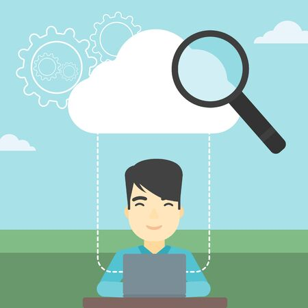 asian businessman: An asian businessman working on a laptop and cloud, magnifier and gears above him. Cloud computing concept. Vector flat design illustration. Square layout. Illustration