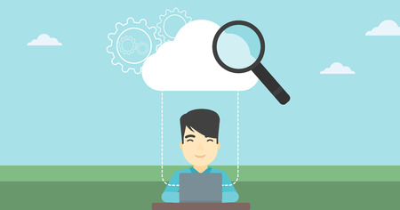 An asian businessman working on a laptop and cloud, magnifier and gears above him. Cloud computing concept. Vector flat design illustration. Horizontal layout.
