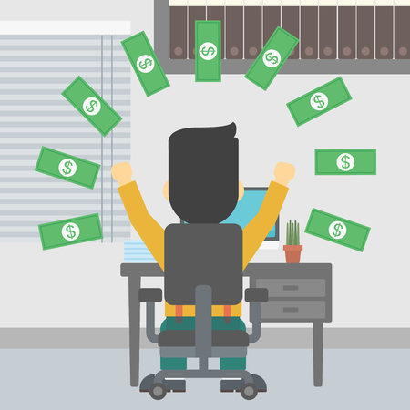 money rain: Businessman with raised hands celebrating while sitting under money rain. Successful business concept. Vector flat design illustration. Square layout. Illustration