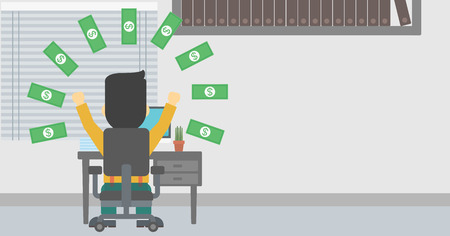 money rain: Businessman with raised hands celebrating while sitting under money rain. Successful business concept. Vector flat design illustration. Horizontal layout.
