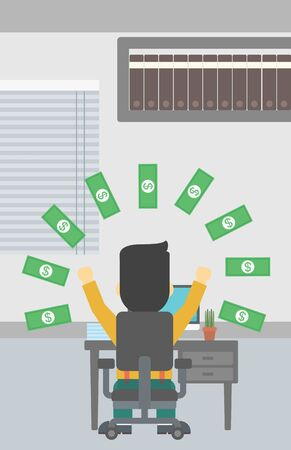 money rain: Businessman with raised hands celebrating while sitting under money rain. Successful business concept. Vector flat design illustration. Vertical layout. Illustration