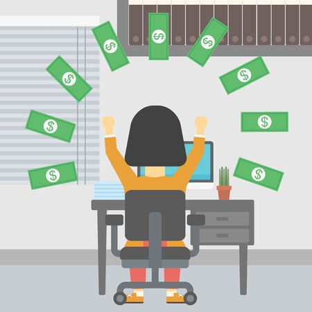 banknote: Business woman with raised hands celebrating while sitting at workplace under money rain. Successful business concept. Vector flat design illustration. Square layout.