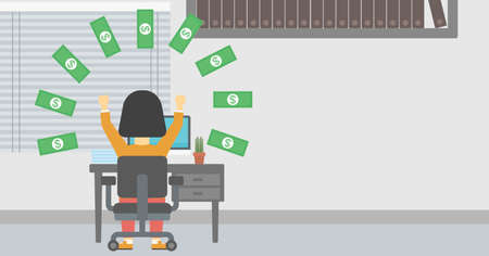 money rain: Business woman with raised hands celebrating while sitting at workplace under money rain. Successful business concept. Vector flat design illustration. Horizontal layout.