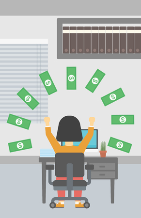 money rain: Business woman with raised hands celebrating while sitting at workplace under money rain. Successful business concept. Vector flat design illustration. Vertical layout.
