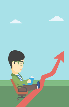 uprising: An asian businessman sitting in a chair and reading a book while his legs lay on an uprising arrow. Business study concept. Vector flat design illustration. Vertical layout.
