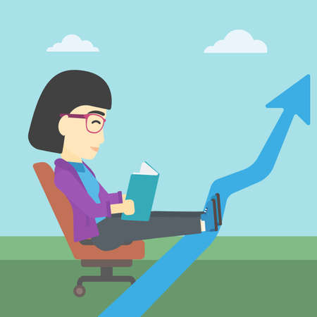 lay: An asian young business woman sitting in a chair and reading a book while her legs lay on an uprising arrow. Business study concept. Vector flat design illustration. Square layout. Illustration