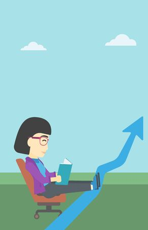 lay: An asian business woman sitting in a chair and reading a book while her legs lay on an uprising arrow. Business study concept. Vector flat design illustration. Vertical layout.