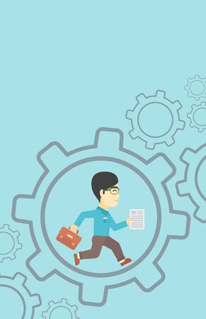 businessman running: An asian businessman running with a briefcase and a document inside the gear. Concept of stress in business. Vector flat design illustration. Vertical layout.