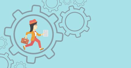 young business woman: An asian  young business woman running with a briefcase and a document inside the gear. Concept of stress in business. Vector flat design illustration. Horizontal layout.
