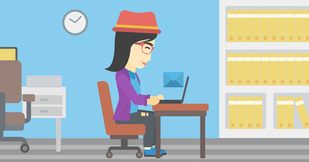 An asian  young business woman working on her laptop in office and receiving or sending email. Business technology, email concept. Vector flat design illustration. Horizontal layout.