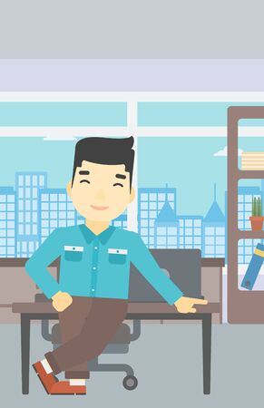 asian businessman: An asian businessman leaning on a table in the office. Young smiling businessman standing in the office. Vector flat design illustration. Vertical layout.