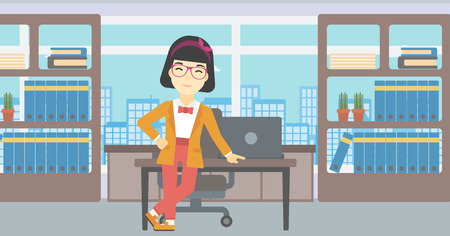 business woman standing: An asian  young business woman leaning on a table in the office. Young smiling business woman standing in the office. Vector flat design illustration. Horizontal layout. Illustration