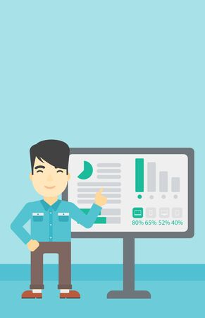 asian businessman: An asian businessman pointing at charts on a board during business presentation. Man giving business presentation. Vector flat design illustration. Vertical layout.
