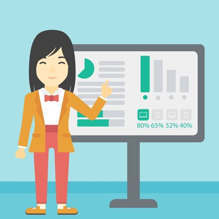 asian business: An asian  young business woman pointing at charts on a board during business presentation. Business woman giving a business presentation. Vector flat design illustration. Square layout.