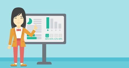 asian business: An asian  young business woman pointing at charts on a board during business presentation. Business woman giving a business presentation. Vector flat design illustration. Horizontal layout.