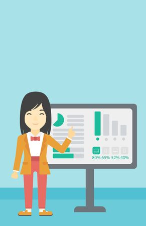 asian business: An asian  young business woman pointing at charts on a board during business presentation. Business woman giving a business presentation. Vector flat design illustration. Vertical layout. Illustration