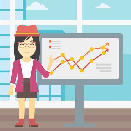 asian business meeting: An asian young business woman pointing at charts on a board during business presentation. Smiling business woman giving a business presentation. Vector flat design illustration. Square layout.