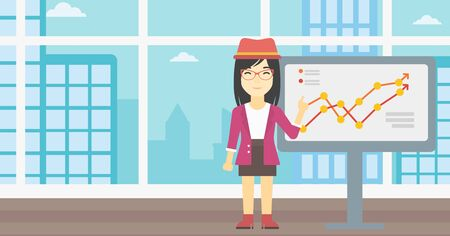 asian business: An asian young business woman pointing at charts on a board during business presentation. Smiling business woman giving a business presentation. Vector flat design illustration. Horizontal layout. Illustration