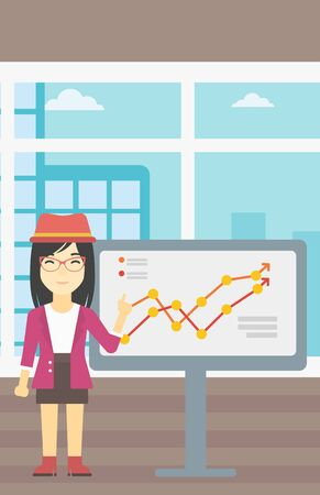asian business: An asian young business woman pointing at charts on a board during business presentation. Smiling business woman giving a business presentation. Vector flat design illustration. Vertical layout.