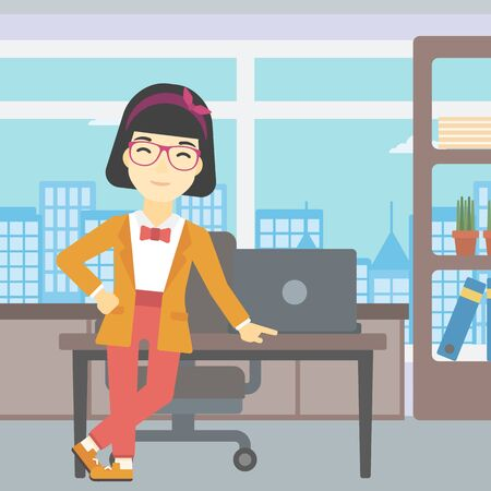 business woman standing: An asian  young business woman leaning on a table in the office. Young smiling business woman standing in the office. Vector flat design illustration. Square layout.