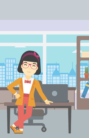business woman standing: An asian  young business woman leaning on a table in the office. Young smiling business woman standing in the office. Vector flat design illustration. Vertical layout. Illustration