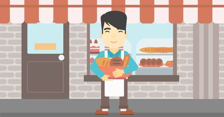 bakery products: An asian young baker holding basket with bakery products. Baker standing in front of bakery. Baker with bowl full of bread. Vector flat design illustration. Horizontal layout.