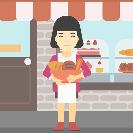 An asian  young female baker holding basket with bakery products. Female baker standing in front of bakery. Baker with bowl full of bread. Vector flat design illustration. Square layout. Illusztráció