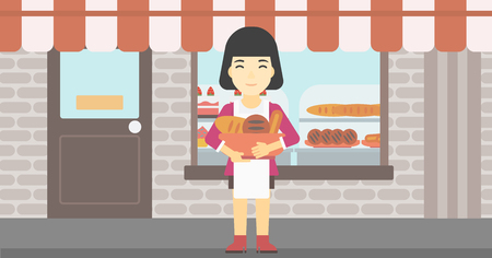 bakery store: An asian  young female baker holding basket with bakery products. Female baker standing in front of bakery. Baker with bowl full of bread. Vector flat design illustration. Horizontal layout.