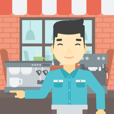 barista: An asian young barista sanding in front of coffee machine. Barista at coffee shop. Professional barista making a cup of coffee. Vector flat design illustration. Square layout.