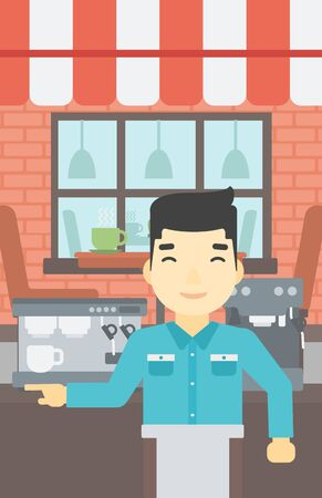 barista: An asian young barista sanding in front of coffee machine. Barista at coffee shop. Professional barista making a cup of coffee. Vector flat design illustration. Vertical layout.