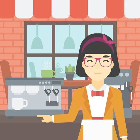 barista: An asian young female barista sanding in front of coffee machine. Barista at coffee shop. Professional barista making a cup of coffee. Vector flat design illustration. Square layout. Illustration