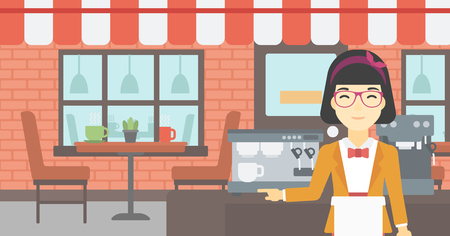 barista: An asian  young female barista sanding in front of coffee machine. Barista at coffee shop. Professional barista making a cup of coffee. Vector flat design illustration. Horizontal layout.
