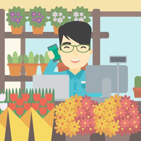 asian man laptop: An asian florist using telephone and laptop to take orders. An excited florist standing behind the counter at flower shop. Vector flat design illustration. Square layout.