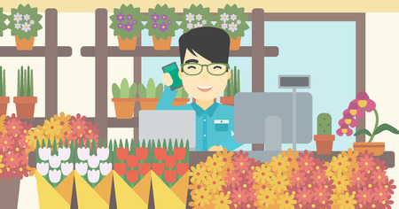 small business computer: An asian florist using telephone and laptop to take orders. An excited florist standing behind the counter at flower shop. Vector flat design illustration. Horizontal layout.