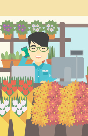 small business computer: An asian florist using telephone and laptop to take orders. An excited florist standing behind the counter at flower shop. Vector flat design illustration. Vertical layout.