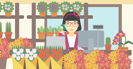 small business computer: An asian female florist using telephone and laptop to take orders for flower shop. An excited florist standing behind the counter at flower shop. Vector flat design illustration. Horizontal layout.
