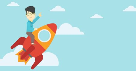 An asian businessman flying on the business start up rocket and pointing his forefinger up. Successful business start up concept. Vector flat design illustration. Horizontal layout. Illustration