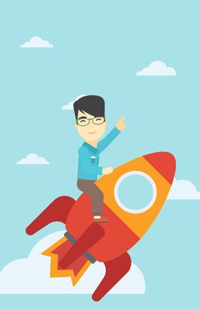 forefinger: An asian businessman flying on the business start up rocket and pointing his forefinger up. Successful business start up concept. Vector flat design illustration. Vertical layout.