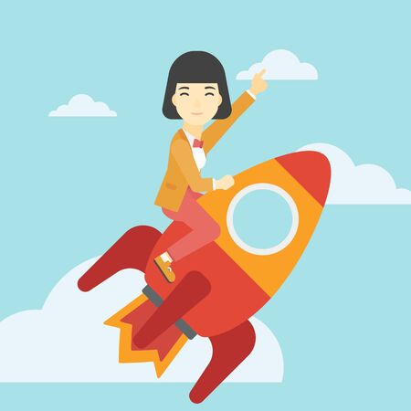 asian business: An asian business woman flying on the business start up rocket and pointing forefinger up. Successful business start up concept. Vector flat design illustration. Square layout.